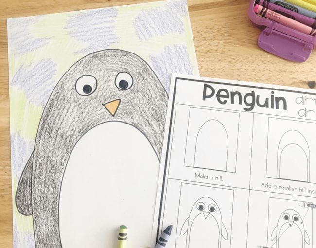 Simple crayon drawing of a penguin