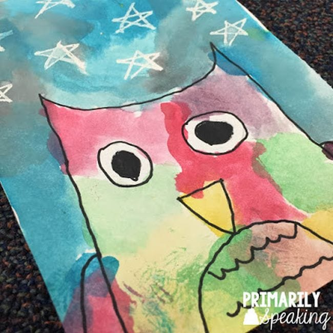 Simple owl and watercolor sketch with starry sky - Directed Drawing For Kids