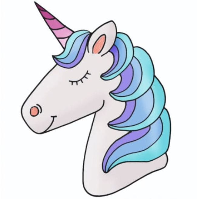 Colorful drawing of a unicorn head