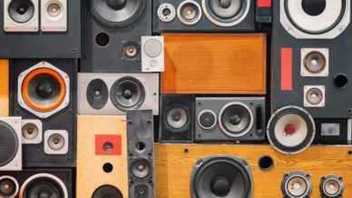 image of wall of retro vintage style Music sound speakers science phenomena lessons