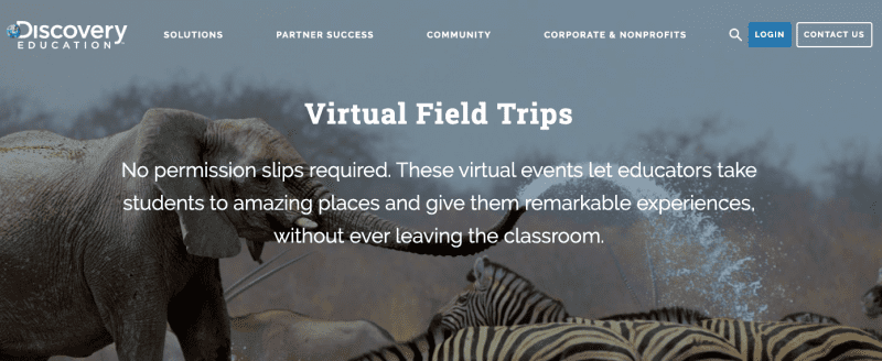 Elephants and zebras in the wild on Discovery Education website