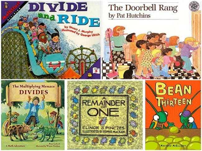 Collage of books about teaching division