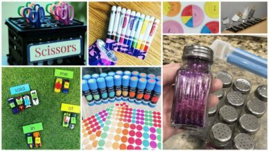 Collage of Dollar Store Hacks for Teachers