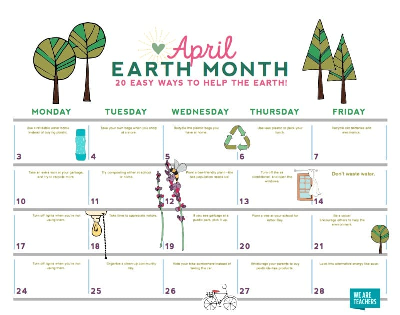 View Our Free Earth Month Calendar