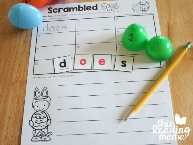 Easter eggs for spelling words.