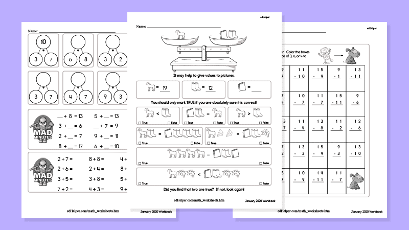 edHelper math worksheets