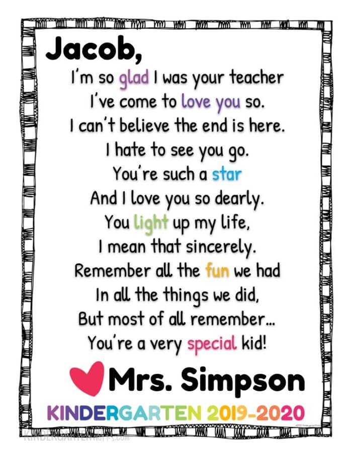 Still of end of year poem for Kindergarten students