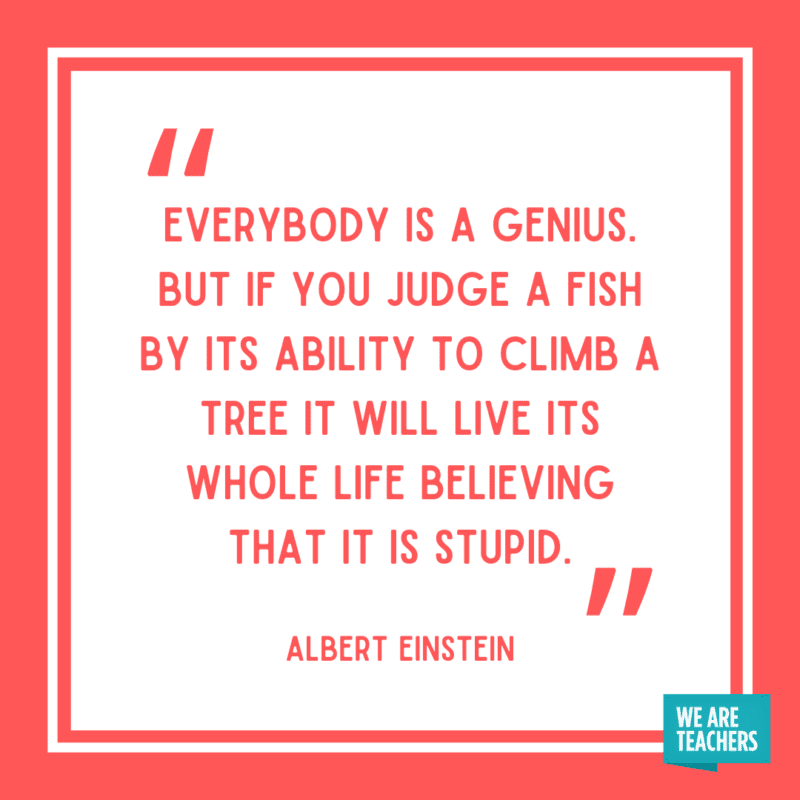 """""""Everybody is a genius. But if you judge a fish by its ability to climb a tree it will live its whole life believing that it is stupid."""" - Albert Einstein."""