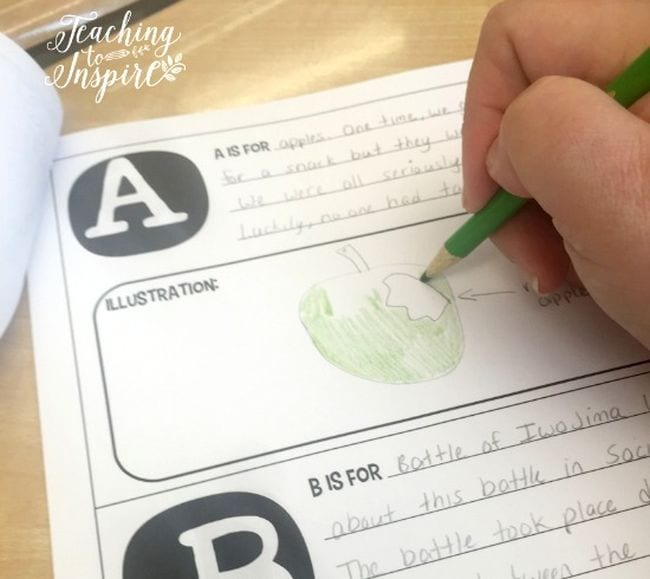 Student completing a printable A to Z compilation of school year memories
