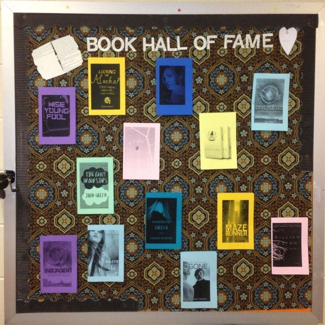 Book Hall of Fame bulletin board featuring printed book covers