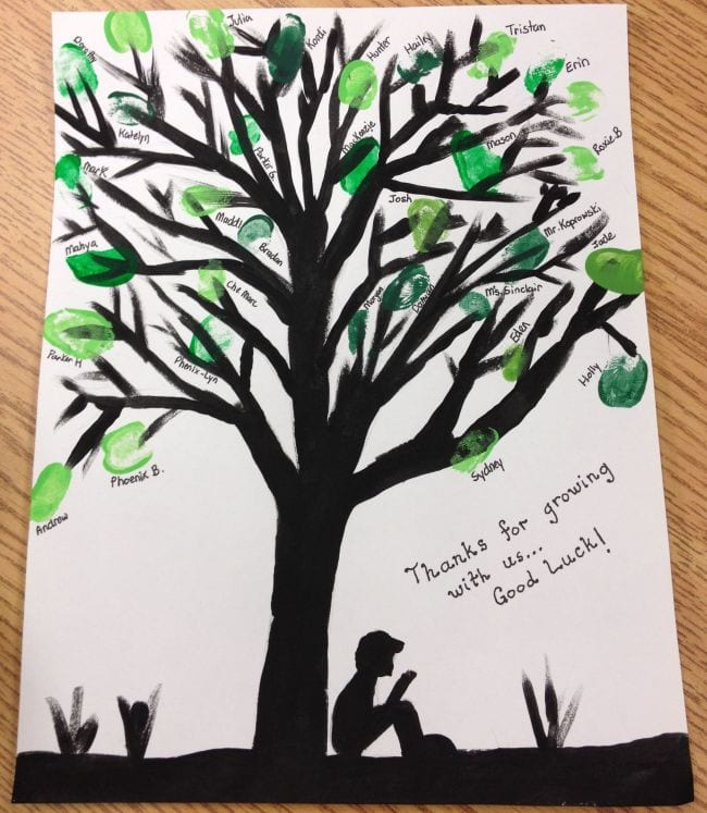 Black painted tree with student fingerprints for leaves (End of year assignments)