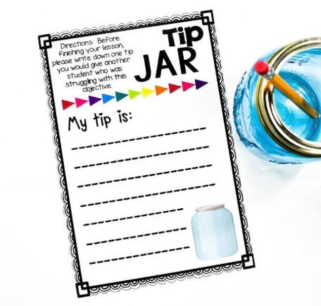 """Exit ticket with a prompt saying """"my tip is:"""""""