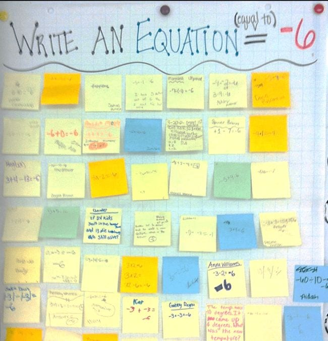 Exit tickets with math equations.