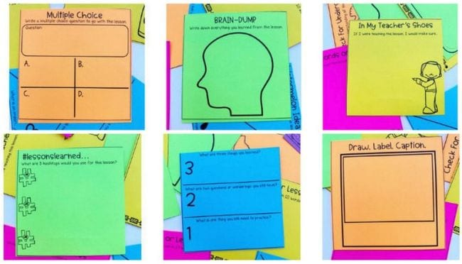 Exit tickets on colored sticky notes.