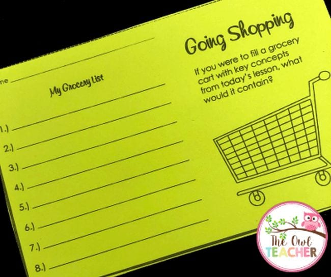 """exit ticket with """"grocery list"""" and space to write an answer."""