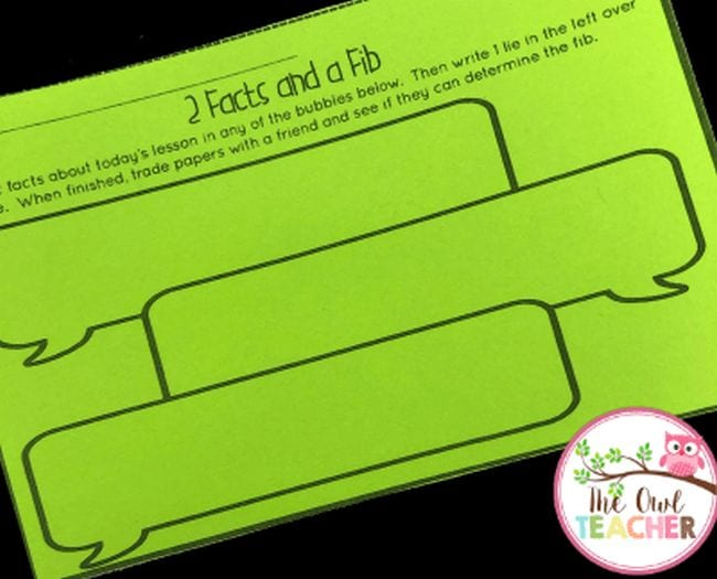 """exit ticket saying """"2 facts and a fib"""" with space to answer the prompt."""