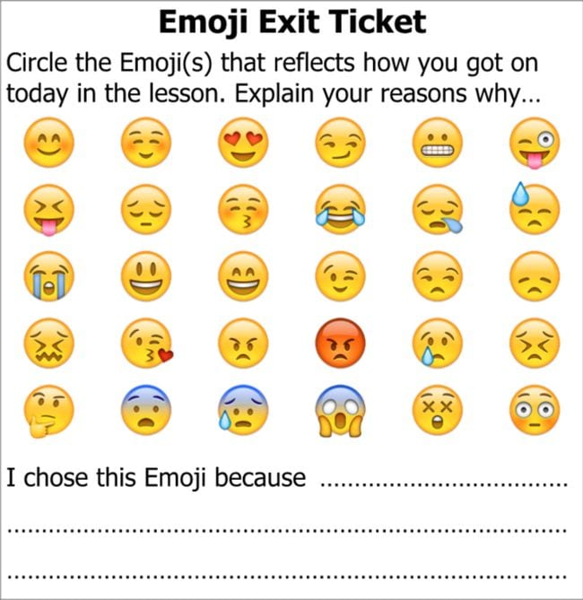 Exit ticket with emojis, circle the emojis that reflect how you got on today in the lesson. Explain your reasons why...