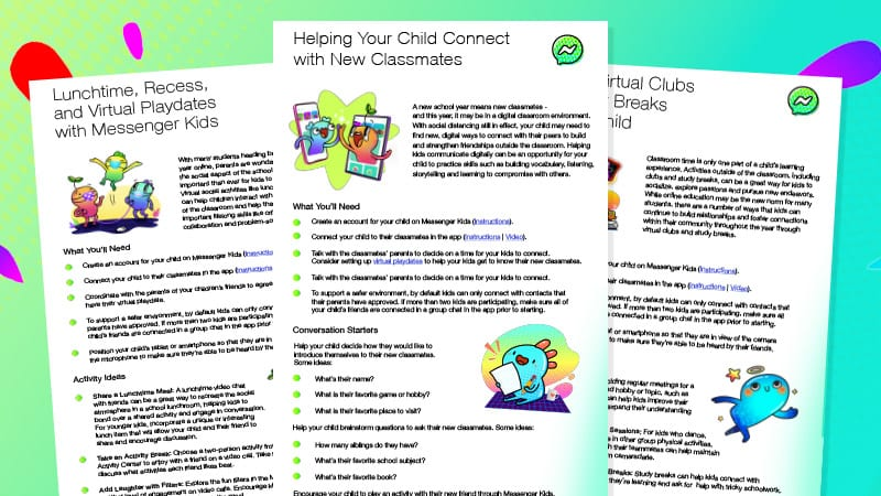 A bright green background with three white printer paper with information about Messenger Kids