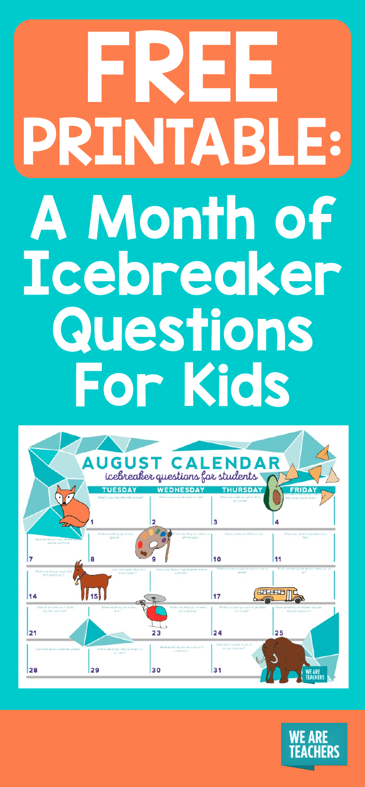 Calendar Year Question : Free printable a month of icebreaker questions for kids