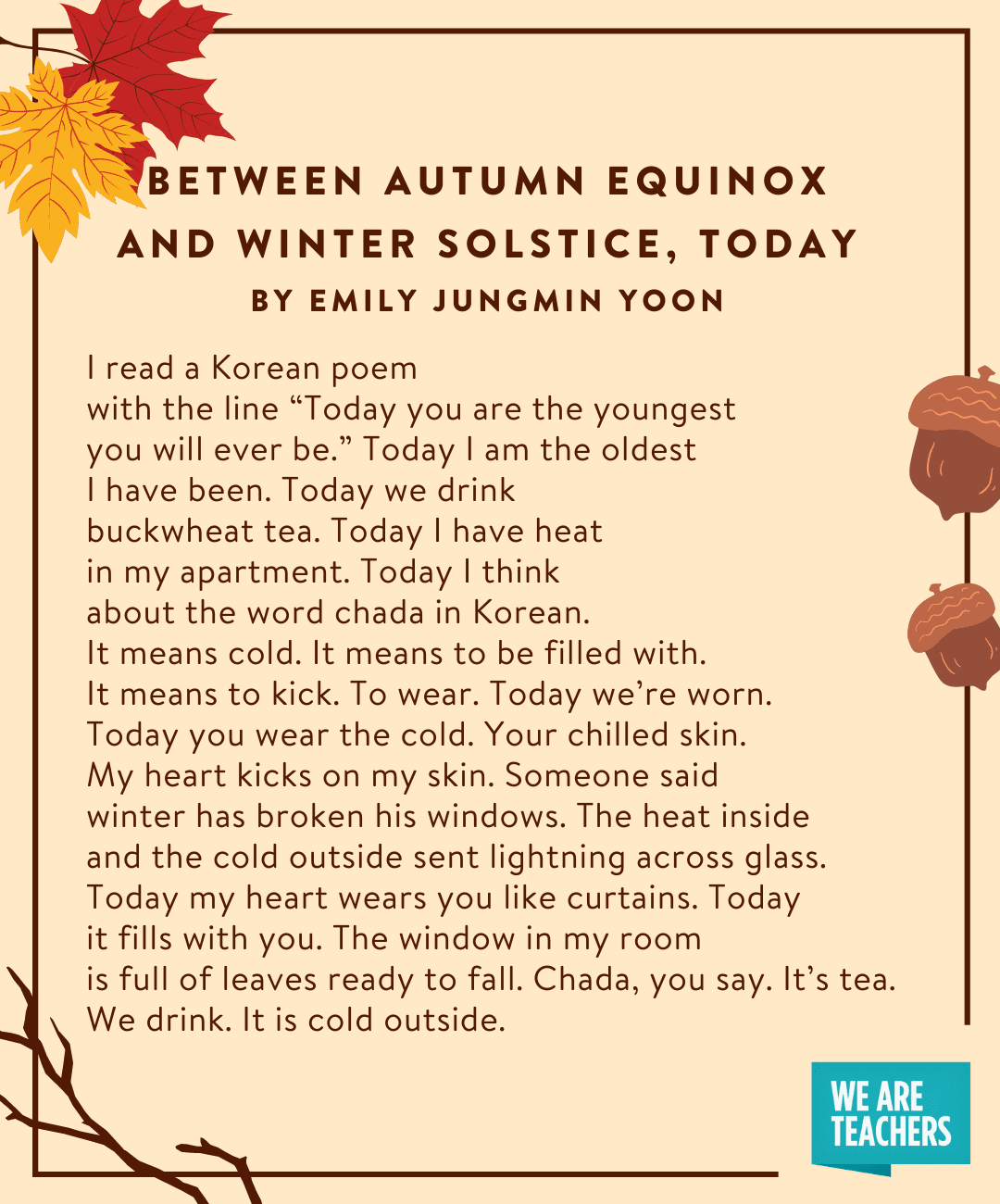 Between Autumn Equinox and Winter Solstice, Today
