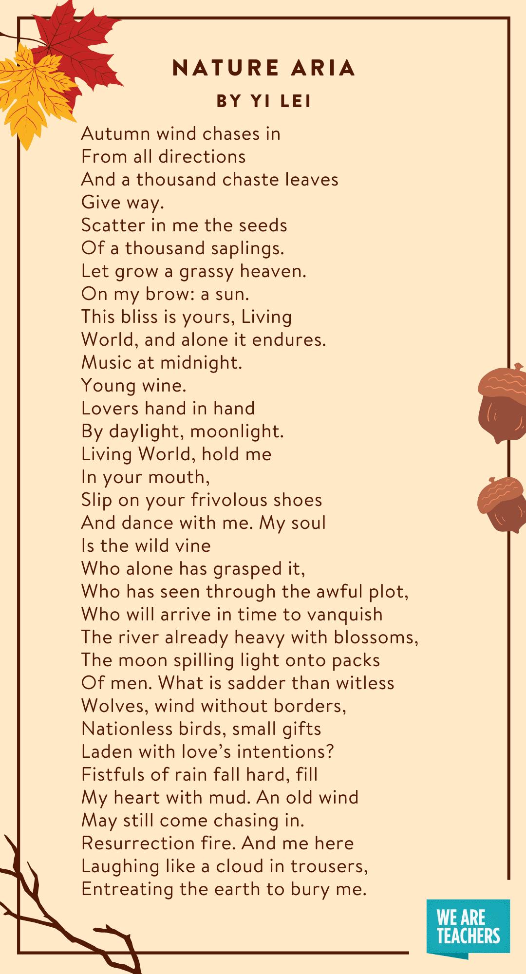 Natura Aria fall poems