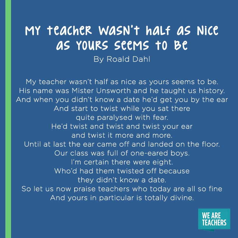 My Teacher Wasn't Half As Nice As Yours Seems To Be poem
