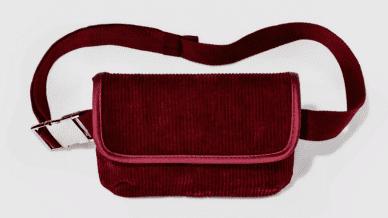 Still of burgundy red fanny pack