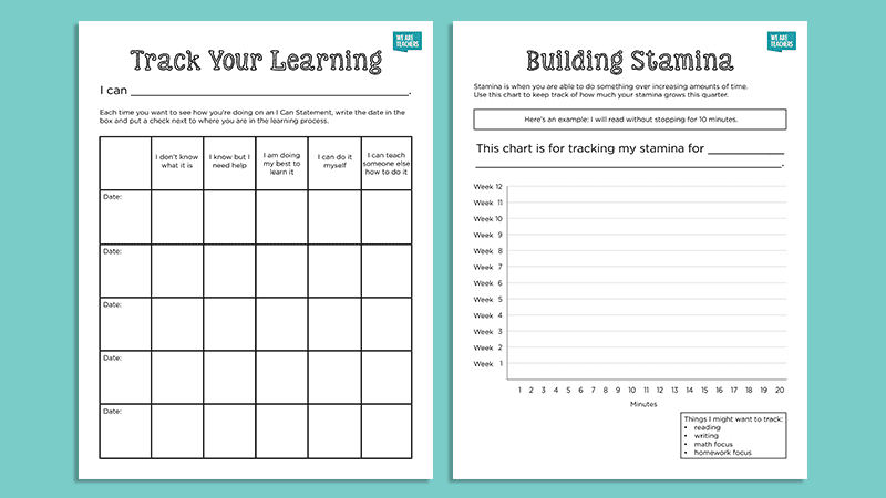 Free Goal Setting and Student Data Tracking Worksheets