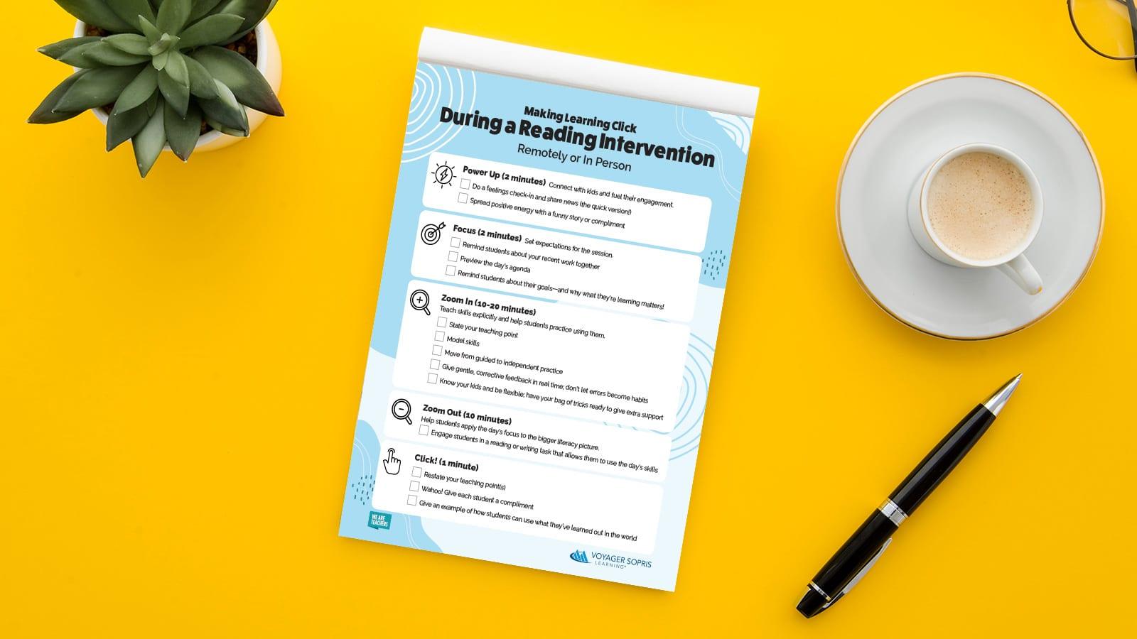 Free Reading Intervention Checklist