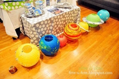 Brightly colored paper lanterns used for DIY planets