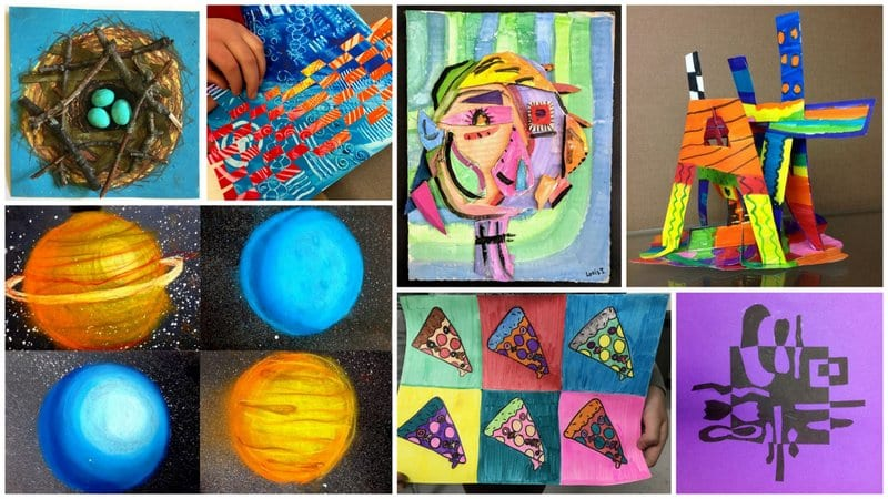 Collage of fifth grade art projects