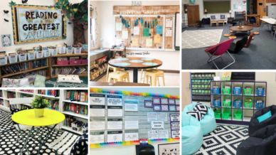 Six separate images of classroom ideas including adventure themed and rustic.