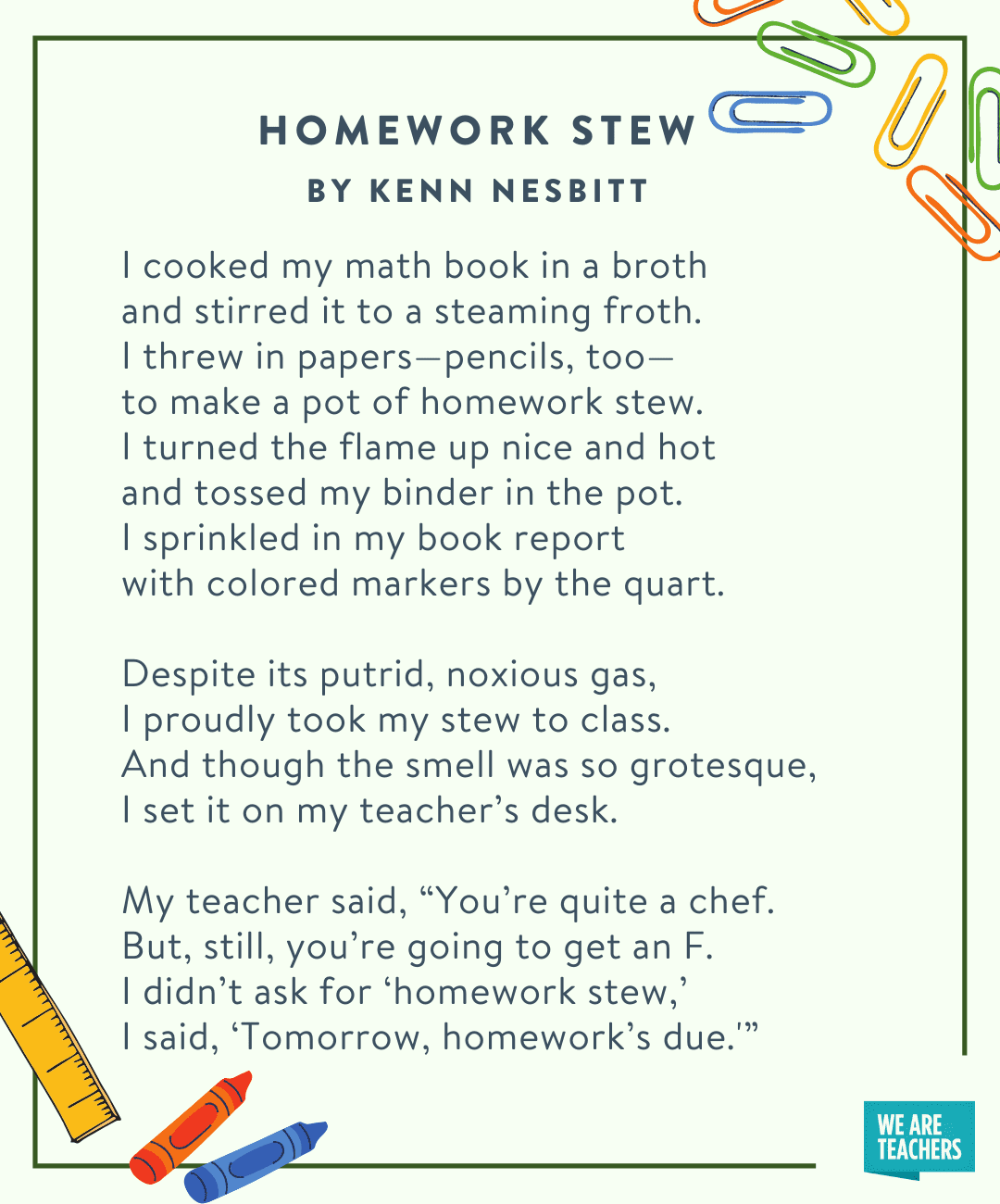 Homework Stew by Kenn Nesbitt -- fifth grade poems