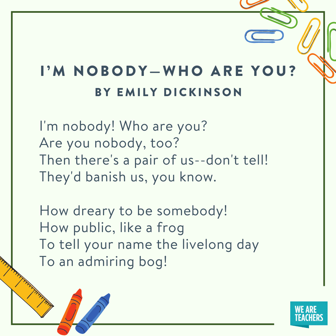 I'm Nobody -- Who Are You by Emily Dickinson -- fifth grade poems