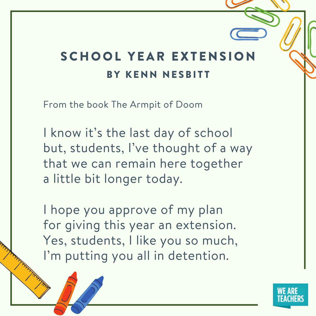School Year Extentsion by Kenn Nesbitt