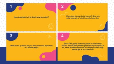 Four orange images of questions for fifth grade.