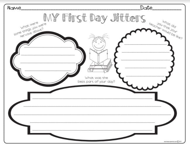 First Day Jitters Activities Lesson Plan Diva