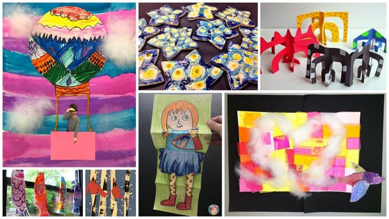 Collage of First Grade Art Projects