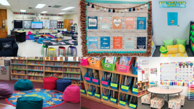 Six separate images of first grade classroom ideas including bean bags and colorful art.