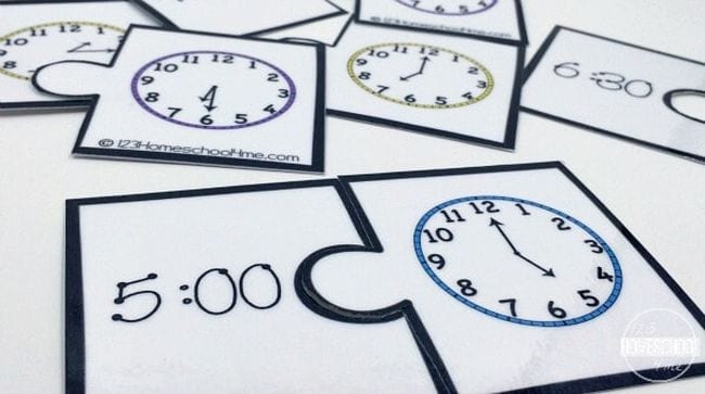 Two-piece puzzles with clock faces and times