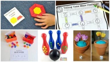 Collage of First Grade Math Games