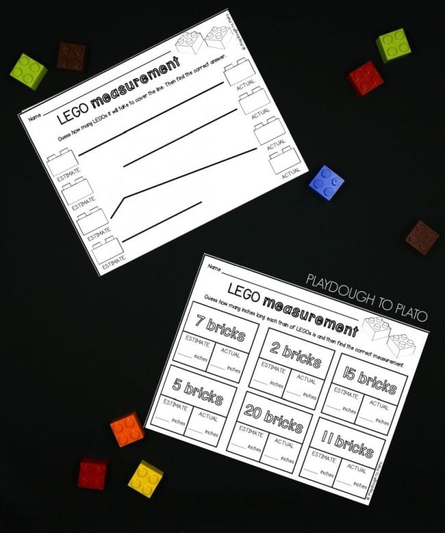 LEGO measurement worksheets with colorful LEGO bricks