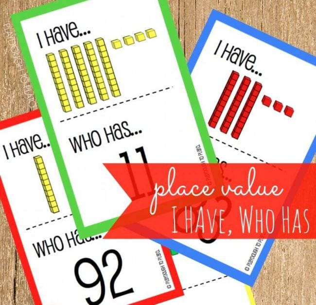 Printed cards saying I have... Who has... showing math cube manipulatives and numerals (First Grade Math Games)