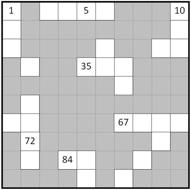 Paper grid with grayed out spaces and white spaces with numbers, some left blank (First Grade Math Games)
