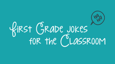 """Turquoise background with white cursive text that reads, """"First Grade Jokes for the Classroom."""""""