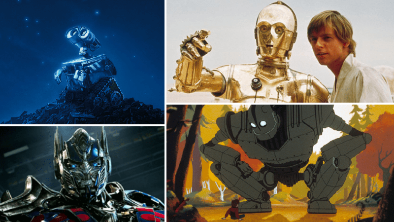 Famous robots in movies such as Wall-E and C3PO.