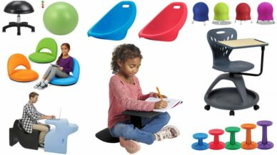 Collage of Flexible Seating Options For Classrooms