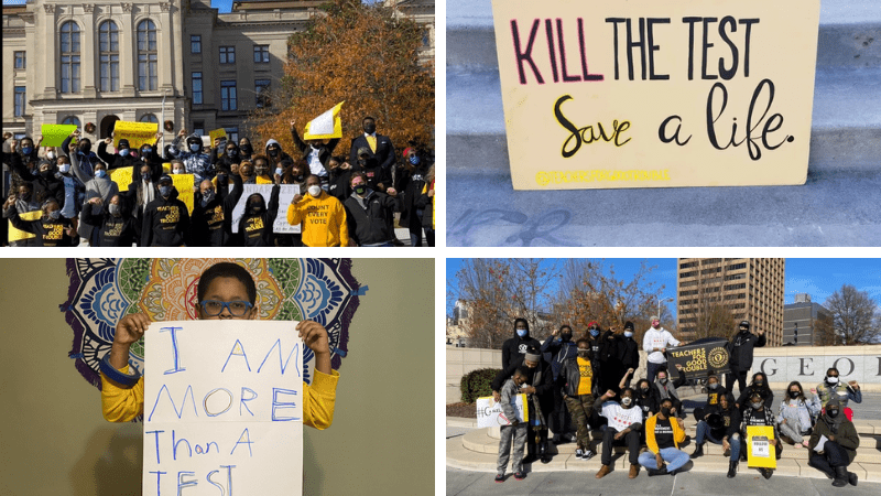 Collage of images of members of Teach For Good Trouble who are protesting against standardized testing during COVID and who have created a petition