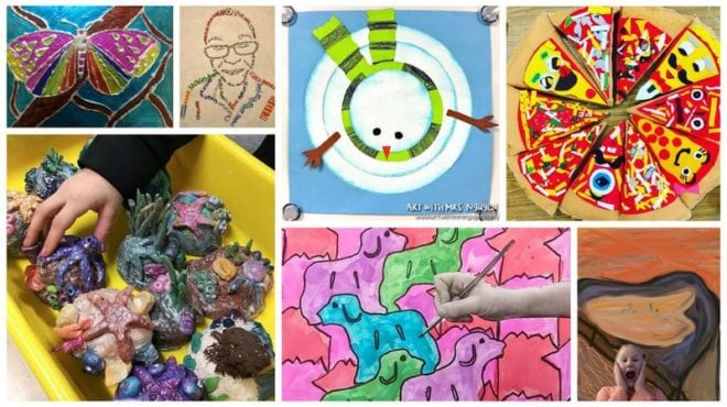 Collage of fourth grade art projects