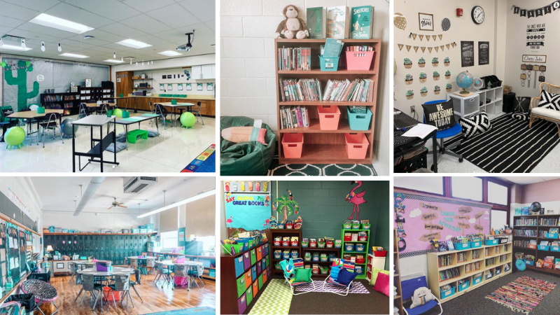 Six separate images of classroom ideas including desert themed, tropical, and book themed.